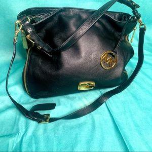 Michael Kors Black Leather Crossbody Shoulder Bag Gold Hardware Purse